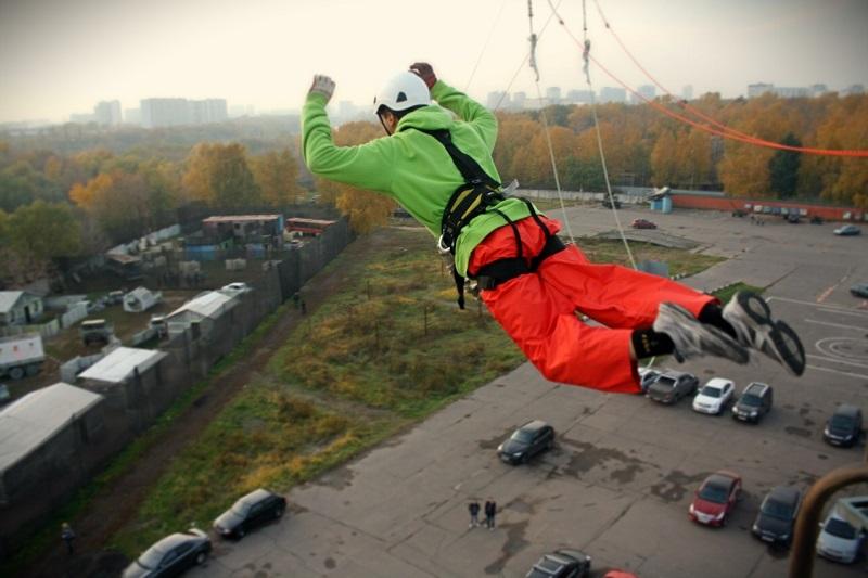 """""""bungee jumping"""" В Москве с вышки на веревках"""