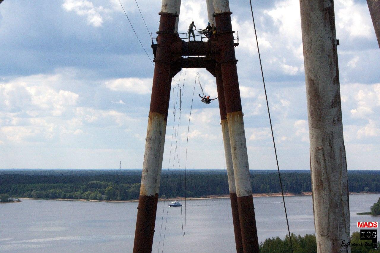 Экстремальные прыжки с веревкой  с 70 метровой ЛЭП в Конаково