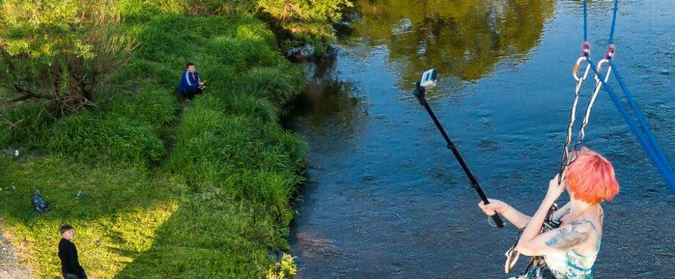 Троллей - ZipLine с моста в реку