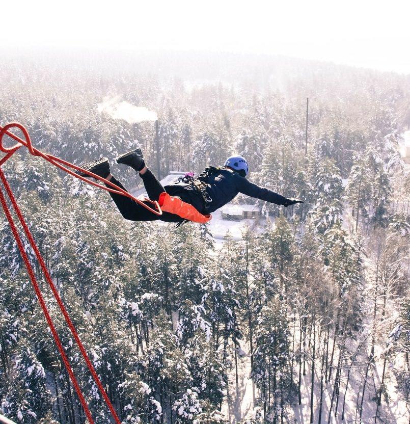 Прыжок с 50 метров зимой