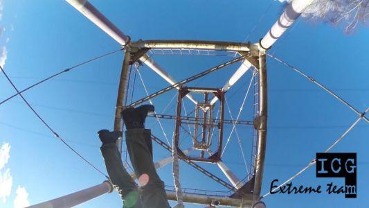 Прыжки с веревкой внутрь ЛЭП